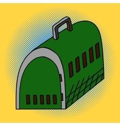 Pet travel plastic cage Pop art vector image