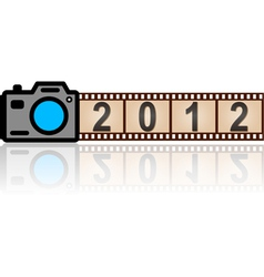 2012 new year camera with 35mm film vector image vector image
