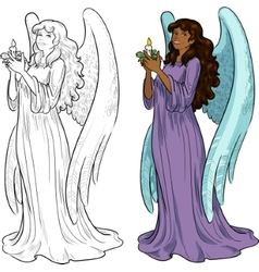 Beautiful African American female angel with vector image