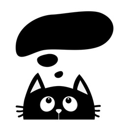 black cat looking up to empty think talk speech vector image vector image