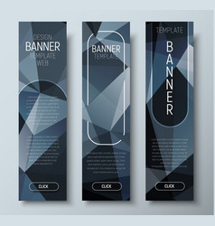 design of vertical web banners with polygonal vector image