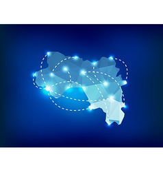 Guinea country map polygonal with spot lights plac vector image
