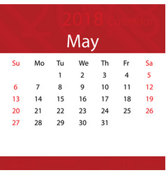 may 2018 calendar popular red premium for business vector image