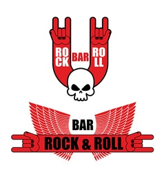 Set of logos for rock and roll bar Hand rock sign vector image vector image