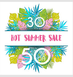 summer sale background with tropical palm vector image