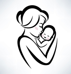 baby and mama vector image vector image