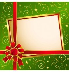 background with red bow green vector image vector image