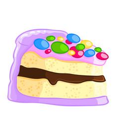 cartoon icon of a piece of vanilla sponge cake vector image