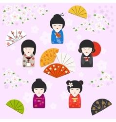 Japanese kokeshi dolls background vector image