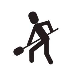 man shovel digging work construction vector image