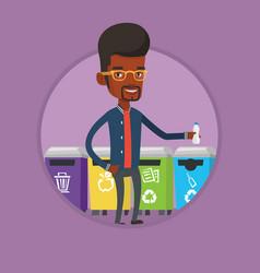 man throwing away plastic bottle vector image