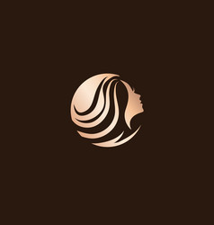 Woman beauty hair salon logo design vector