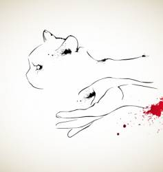 cat and hand vector image vector image