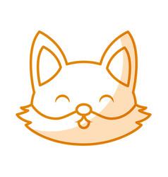 cute shadow fox face cartoon vector image