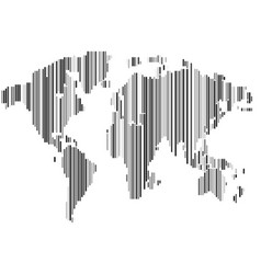 isolated striped black and white color worldmap vector image vector image