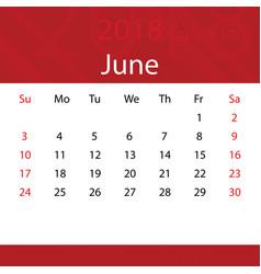june 2018 calendar popular red premium for vector image