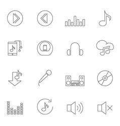 Music icon set outline vector image vector image