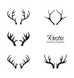 Rustic antler set vector