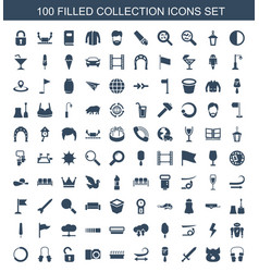 100 collection icons vector