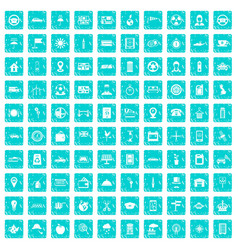 100 taxi icons set grunge blue vector image