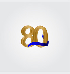 80 years anniversary celebration number gold vector