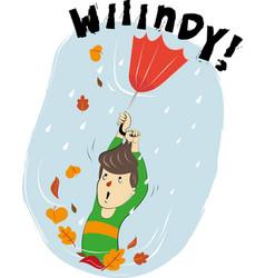 A boy with the umbrella vector