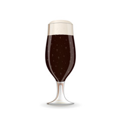 a glass of dark beer with foam vector image
