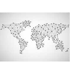 Abstract world map of dots and line vector
