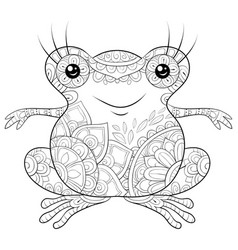 Adult coloring bookpage a cute frog image for vector