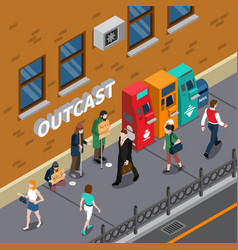 Beggars at street isometric vector