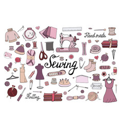 big set of hand drawn sewing elements isolated on vector image