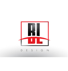 Bl b l logo letters with red and black colors vector