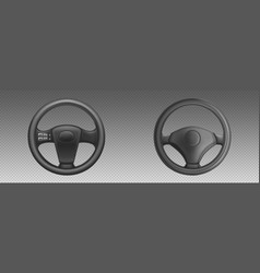black leather car steering wheels with buttons vector image
