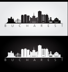 bucharest skyline and landmarks silhouette vector image