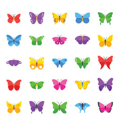 Butterfly complete species flat icons vector