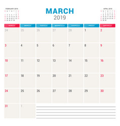 Calendar planner for march 2019 week starts on vector