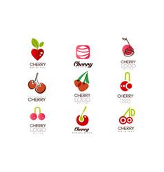 cherry logo design set creative templates can be vector image