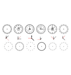 clock face vintage and modern watch dial with vector image