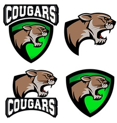 Cougars sport team logo template vector