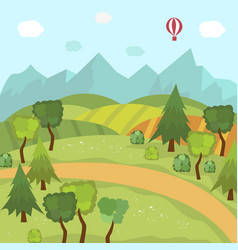 Countryside landscape with fields trees mountains vector