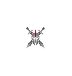 creative spartan helmet swords symbol logo vector image