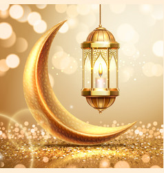 crescent and lantern on ramadan greeting card vector image