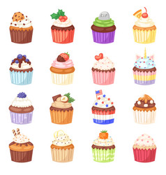 Cupcake muffin and sweet cake dessert vector