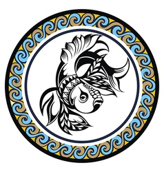 Decorative Zodiac sign Pisces vector image