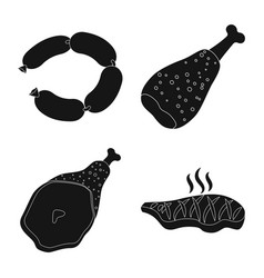 Design of meat and ham icon set of meat vector