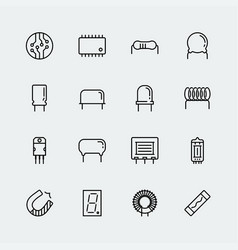 Electronic components icon set in thin line style vector