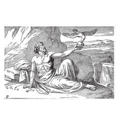 Elijah fed by angels vintage vector