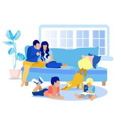 Faceless family resting at home idyllic cartoon vector
