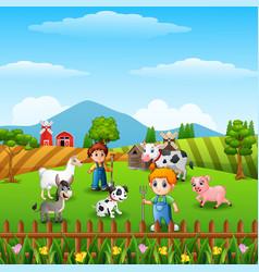 Farm background with farmers and farm animals acti vector