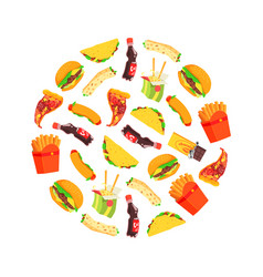fast food seamless pattern round shape dishes vector image